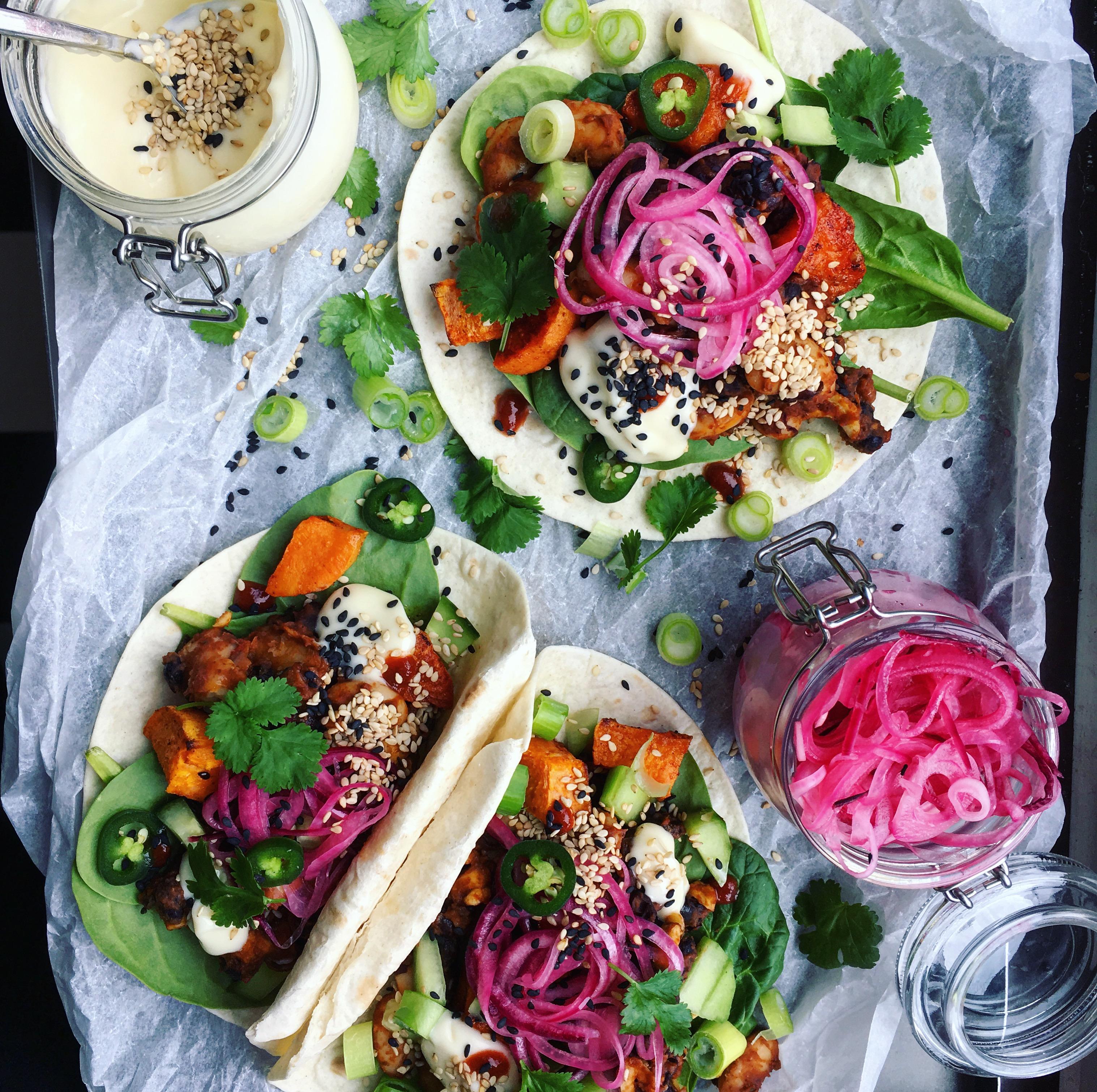 vegetariska tacos bönor